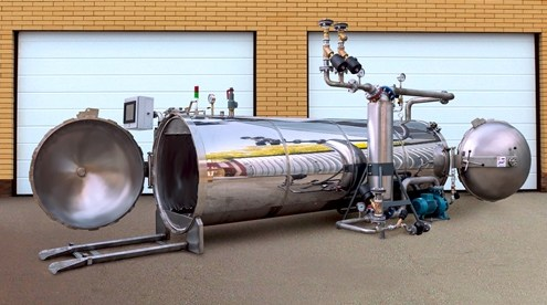 pass-through horizontal autoclave AH-1200 manufactured by UralCenterKomplekt